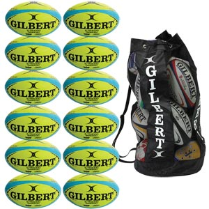 Gilbert G TR4000 Trainer Rugby Ball 12 Pack Yellow and Blue