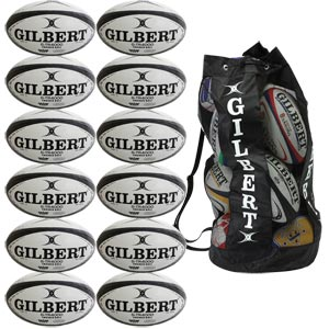 Gilbert G TR4000 Trainer Rugby Ball 12 Pack White and Black